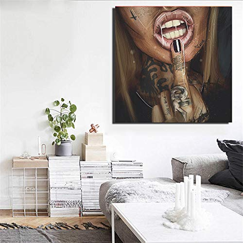 QianLei Sexy Girl Tattoo Graffiti Canvas Painting Print Beauty Figure Posters Wall Art Pictures para Sala de Estar Home Decoration 50x50cm sin Marco