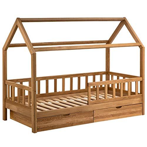 Hausbett 90x200 für Kinder - Kinderbett aus Eiche mit Rausfallschutz & Schubladen   Jugendbett Haus im skandinavischen Stil inkl. Lattenrost   Bett aus Massiv Holz für Jungen & Mädchen