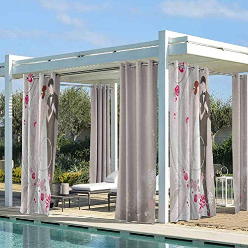 Wedding Dustproof Curtains for Pergola Decoration Privacy Curtains Abstract Wedding Ceremony Floral Ornament Designs Bride and Groom Celebration Grey Black Pink 100W x 84L Inch