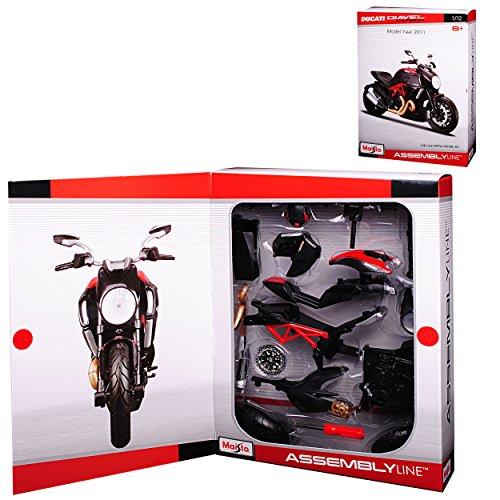 Maisto Ducati Diavel Carbon Karbon Schwarz Ab 2011 Bausatz Kit 1/12 Modell Auto mit individiuellem Wunschkennzeichen