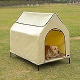Amazon Basics Elevated Portable Pet House, Large (51 x 41 x 34 Inches), Khaki