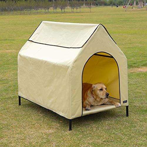 Amazon Basics Erhöhte, tragbare Haustier-Hütte, Größe L, Khaki