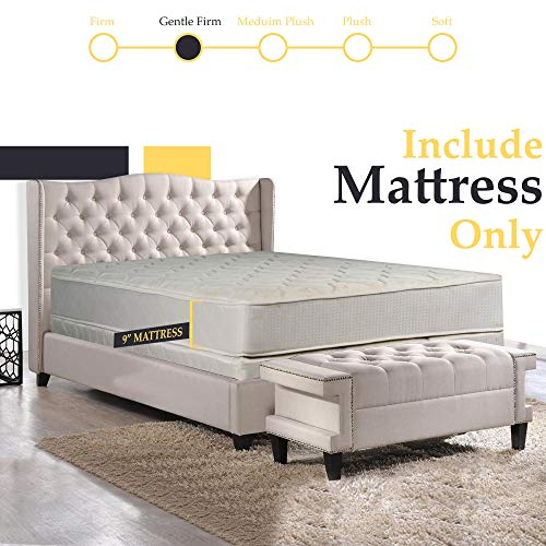 """Mattress Solution Gentle Firm Tight top Innerspring Fully Assembled Mattress, Good For The Back, 75"""" x 48"""", Beige"""