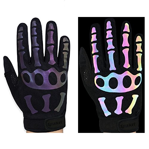 Spakct Sensitiv Unisex Erwachsene und Jugendliche Handschuhe Fahrradhandschuhe Radfahren Handschuhe Handschuhe voller Finger-Skelett S17G03 (Große, Schwarz)