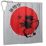 GSEGSEG Cortina de Ducha de Tela de poliéster Impermeable con diseño de dragón Rojo Sun Goku Dragonball Z Cortina de baño Decorativa con Ganchos, 182,88 x 182,88 cm