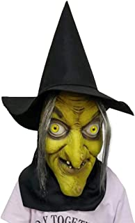 Halloween Witch Mask | Scary Green Old Hag Witch Woman Costume Mask with Hair and Hat Dress up Party Latex Props (from US, Multicolor)