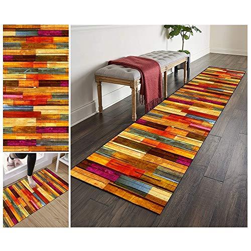 ZVEZVI Teppich Läufer Flur Küche rutschfest Waschbar Bunt Lange Vintage Kücheläufer Teppichläufer Polyester Meterware Anpassbar (Color : Color#1, Size : 80x200cm)