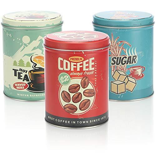 COM-FOUR® 3x Latas de almacenamiento con diseño retro - lata de café redonda de metal con tapa - latas nostálgicas para café, té y azúcar (03 piezas - azul/verde/rojo)