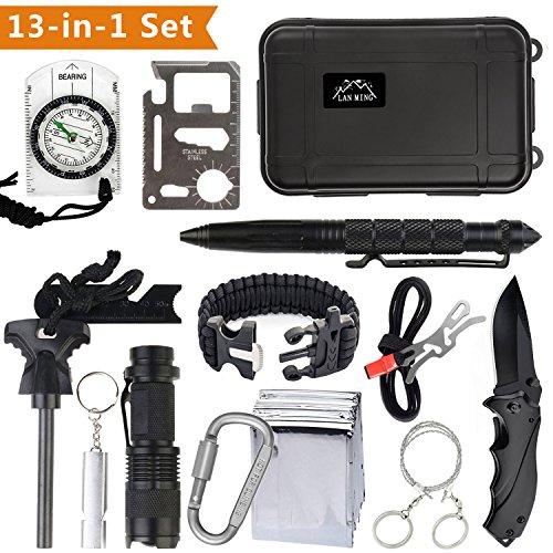 Kit di Sopravvivenza Multiuso con 10 Accessori Inclusi sopravvivenza bracciali,Survival Card,Tactical Pen,TORCIA LED,Selce Magnesio、、、