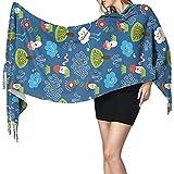 Bufanda de manta larga para mujer Árbol de hongo de nubes Gran tamaño Invierno/Otoño Bufandas cálidas Chal de abrigo