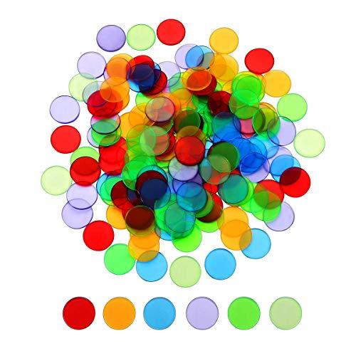 MIMORE 240 Stück Bingo-Chips, transparente Farbzähler, Bingo-Marker, Kunststoff-Marker, Bingo-Zubehör, verschiedene Farben