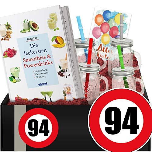 Zahl - 94 - Smoothie Geschenk + Becher - 94 iger Geburtstag Geschenk