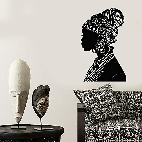 Hermosa mujer creativa etiqueta de la pared chica africana etiqueta de la pared mujer africana silueta pañuelo nativo moda vinilo ventana etiqueta dormitorio salón de belleza decoración del hogar