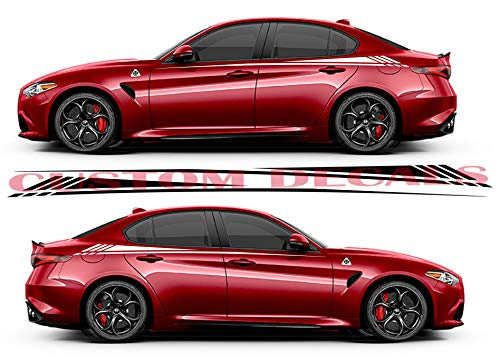 Gráfico de vinilo para Alfa Romeo Giulia | Giulia Decals | Kit de pegatinas Alfa Romeo | Pegatinas Alfa Romeo, negro, 11 colores