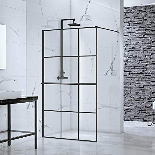 Best Prices! Toure Glass Fixed Panel Shower Wall, 39x77, Black Finish