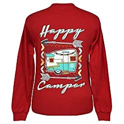 Girlie Girl Originals Happy Camper Long Sleeve Red T-Shirt