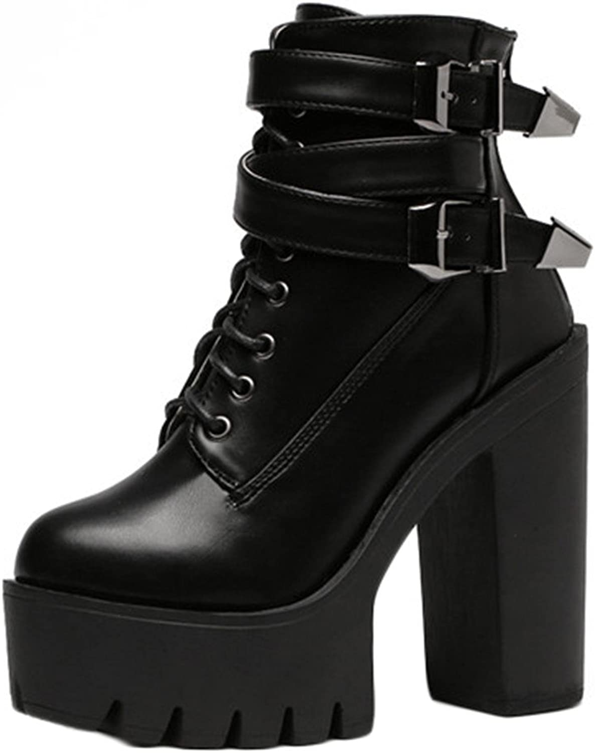 UAaofenG Spring Fashion Women Boots High Heels Platform Buckle Lace Up Leather Short Booties Black Ladies shoes