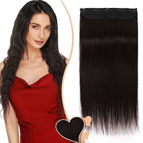Extension a Clip Cheveux Naturel Type Epais - Remy Human Hair - #1B NOIR NATUREL - Une Seule Bande avec 5 Clips (40CM 80G)