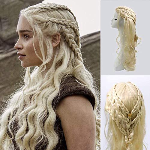 Yinghuawen Rubio Claro Ondulado -Khaleesi Daenerys Targaryen Peluca Inspirado por Juego de Tronos del Traje de Cosplay del Pelo sinttico