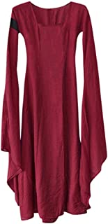 Doric Womens Fall Winter Medieval Gothic Vintage Solid Long Sleeve O-Neck Ball Gowns Floor-Length Maxi Dress