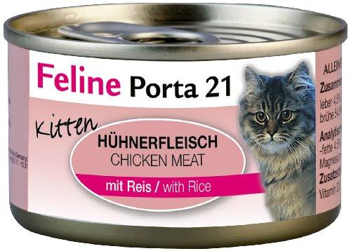 Feline Porta Katzenfutter Feline Porta 21 Kitten Huhn plus Reis 90 g, 12er Pack (12 x 90 g)