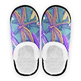 SUABO Dragonflies House Slippers for Men Women, Soft Non Slip Slippers for Spa, Guests, Bathroom, Travel, L