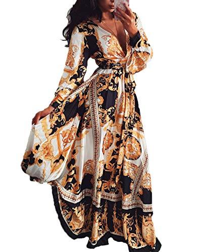 Damen V-Ausschnitt Kleid Langarm Elegante Vintage Lässig Maxi Kleid Druck Cocktail Abendkleid Frauen Hohe Taille Kleid Sommer Beach Rock (L, Gelb)