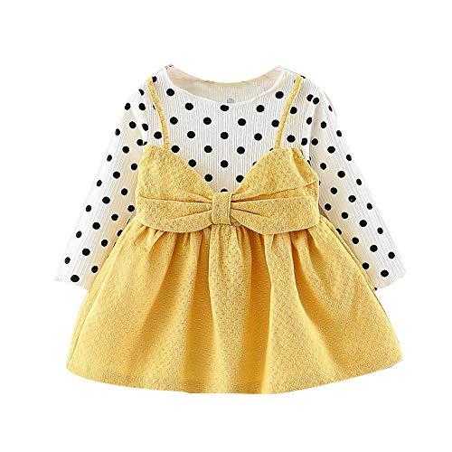 erthome Baby Mädchen Kleider Langarm Dot Bowknot Prinzessin Kleid Partykleid (6-12Monate, Rosa)