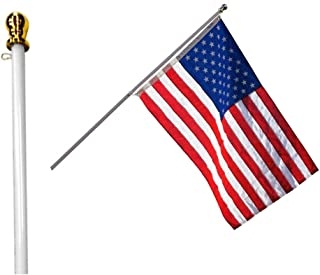 Best Grace Alley Flag Pole: 6 Foot Tangle Free Spinning Flag Pole. Residential or Commercial Flag Pole. Wind Resistant/Rust Free. (White) Review
