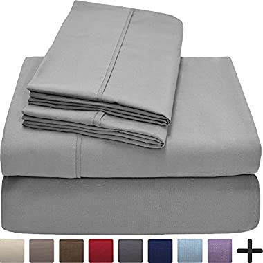 Premium 1800 Ultra-Soft Microfiber Collection Sheet Set - Double Brushed - Hypoallergenic - Wrinkle Resistant - Deep Pocket (Queen, Light Grey)