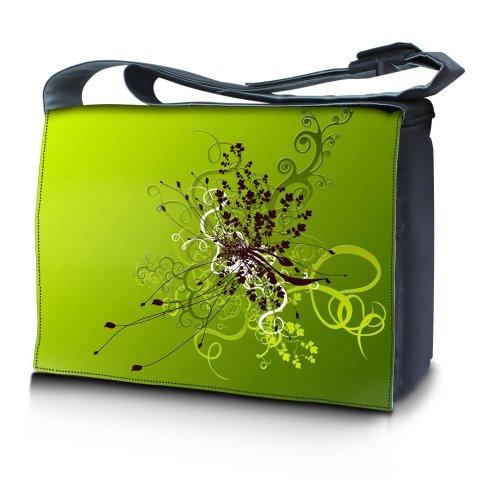 Luxburg® Design Messenger Bag Notebooktasche Umhängetasche für 17,3 Zoll, Motiv: Blumenornament auf Grün