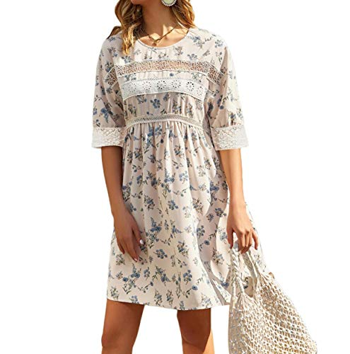 Women's 1/2 Lace Sleeve Elastic High Waist Pleated Floral Casual Dress Floral 1 L
