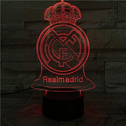 SHJDY-Real Madrid Football Club, 7 Colores, Luces Para Dormir, Luz Nocturna 3D, Flash Led, Control Remoto, Decoración Del Hogar, Regalo De Navidad