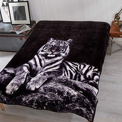 Dreamscene - Manta de Piel sintética con Estampado de Tigre de Nieve, tamaño Grande, Color Blanco y Negro, 150 x 200 cm