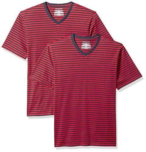 Amazon Essentials - Maglietta a maniche corte con scollo a V, da uomo, vestibilità ampia, Red/Navy, US M (EU M) - Confezione da 2