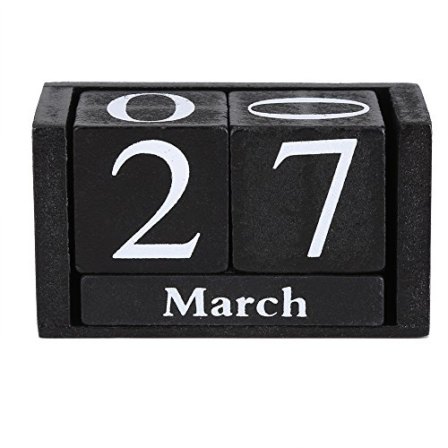 Zerodis Vintage Holz Perpetual Desktop Kalender Holzblock Monat Datumsanzeige Home Office Dekoration(Schwarz)