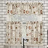 No. 918 Bristol Coffee Shop Semi-Sheer Rod Pocket Kitchen Curtain Valance and Tiers Set, 54' x 36' 3-Piece, Ivory Off-White