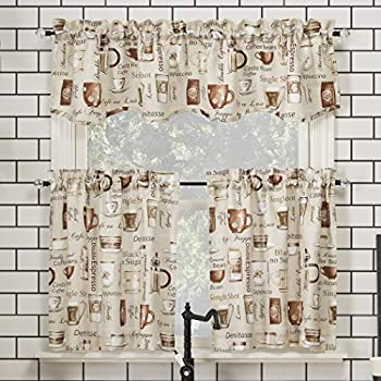 No 918 Bristol Coffee Shop Semi-Sheer Rod Pocket Kitchen Curtain Valance and Tiers Set 54  x 36  3-Piece Ivory Off-White