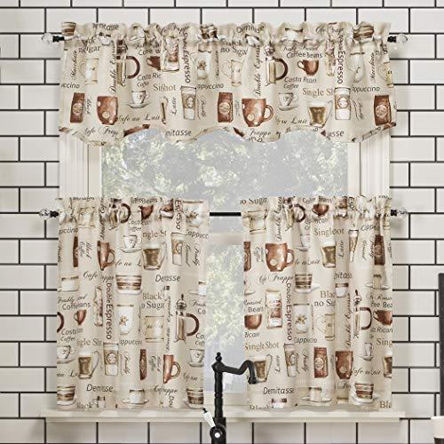 No. 918 Bristol Coffee Shop Semi-Sheer Rod Pocket Kitchen Curtain Valance and Tiers Set, 54u0022 x 24u0022 3-Piece, Ivory Off-White