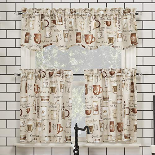 "No. 918 Bristol Coffee Shop Semi-Sheer Rod Pocket Kitchen Curtain Valance and Tiers Set, 54"" x 36"" 3-Piece, Ivory Off-White"