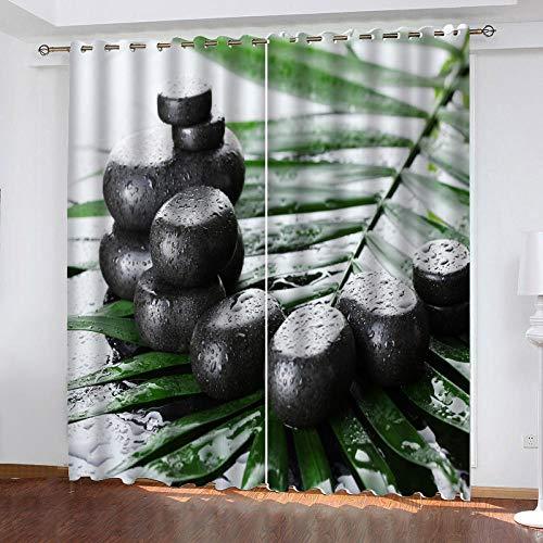 3D Isolierung Schattierung Vorhänge Meditation schwarzer Kiesel 2 Panel fit Kinder Vorhänge Für Wohnzimmer Schlafzimmer Blackout Kinderzimmer Vorhänge 220x215cm