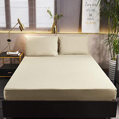 GTWOZNB Luxurious No-Iron Bed Sheet is Breathable- Top Sheet is Oh-So-Soft Pure Color Brushed Waterproof Bed Sheet-Beige_150cmx200cm