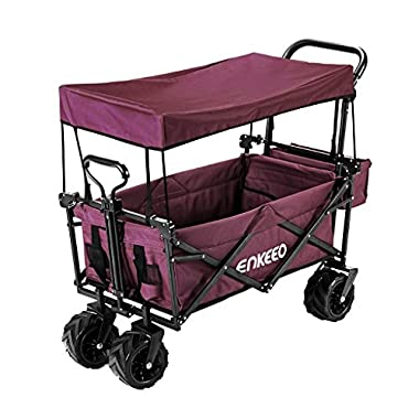 ENKEEO Foldable Utility Wagon Collapsible Sports Outdoor Cart with Removable Canopy, Large Capacity and Tilting Handle for Camping Beach Sporting Events Concerts, Red
