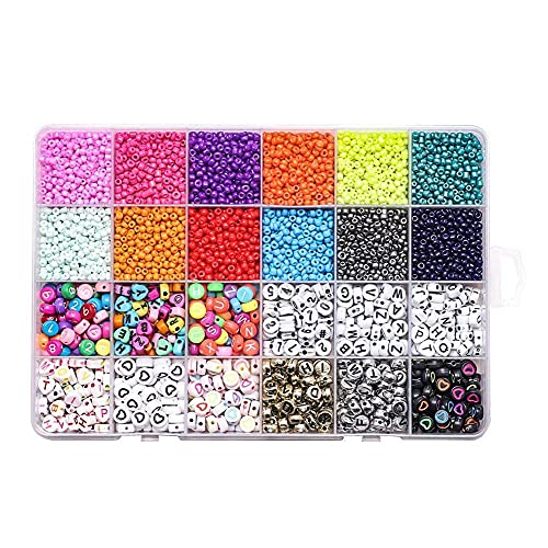 1440 Pcs Beads Jewelry Making Adults Kids 12 Mixed Colors Glass Seed Beads with Round Pony Bead Mini Spacer Beads DIY Craft Bracelets Necklace Earring Making Kits