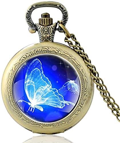 Reloj de bolsillo Encanto clásico Diseño de mariposa azul Cabujón de cristal Reloj de bolsillo de...