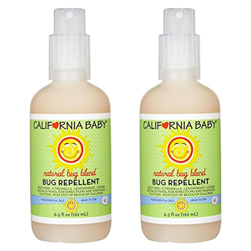 California Baby Plant-Based Natural Bug Repellant Spray 6.5 fl. oz.(Pack of 2) Skin Safe, Plant-Based Formula for Babies, Toddlers, Kids | Outdoor Protection from Mosquitoes.