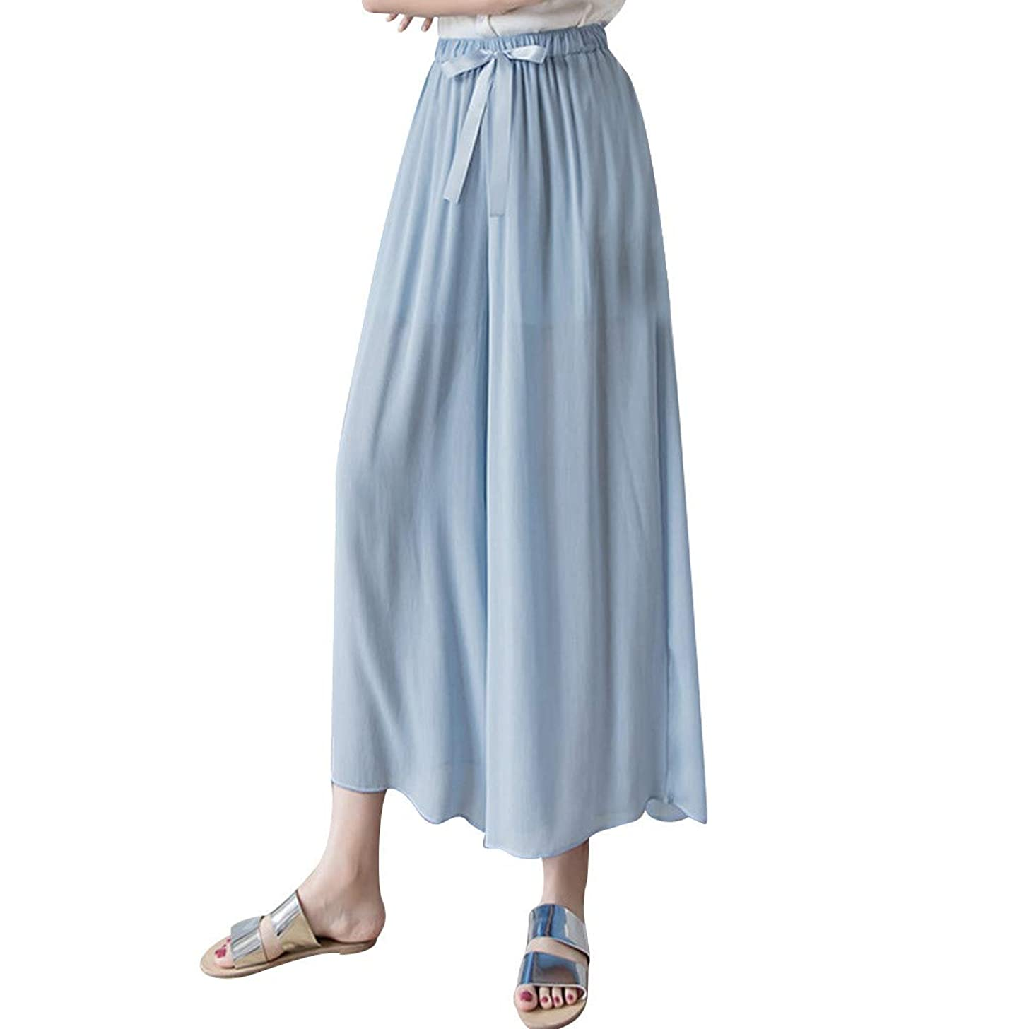 Fashion Women Chiffon Elastic High Casual Pant Wide Leg Beach Trouser Hotkey Yoga Pants for Women Plus Size