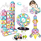 HOMOFY 60pc Castle Magnetic Blocks Learning & Development Magnetic Tiles Blocks with Candy Color 3D Magnet Toys STEM Educational Kids Toys for 3 4 5 6 7 Years Old Girls Boys Toddlers Gifts