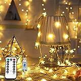 Feliciay Cadena de luces de Navidad con mando a distancia, 100 LEDs 10 m USB, 8 modos intermitentes, Año Nuevo, boda, cumpleaños, boda, fiesta, interior y exterior (blanco cálido)