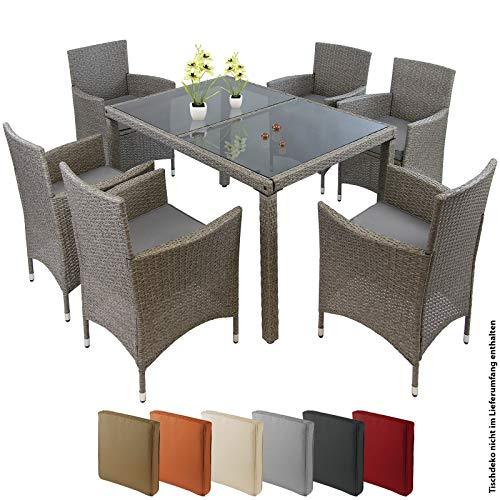 BB Sport 13-teilige Polyrattan Essgruppe 6 Personen Tisch Stühle Auflagen Bezüge Sitzgruppe Terasse Esszimmer, Farbe:Kieselstrand